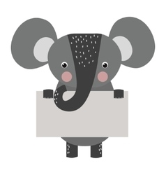 Wild animal elephant strike with clean plate board vector
