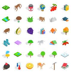 Wild animal icons set isometric style vector