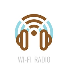 Wireless internet radio logo template with vector image
