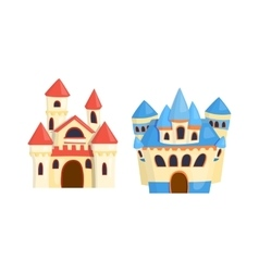 Castle cartoon set vector