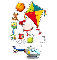 Sticker set with many toys vector image