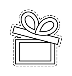 Gift box ribbon parcel shopping open cut line vector