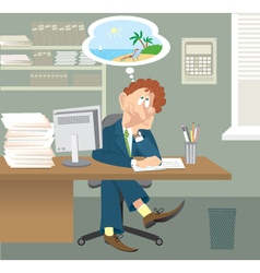 Business man sitting in office vector