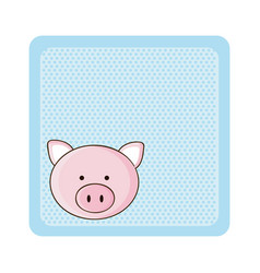 Colorful greeting card with picture pig animal vector