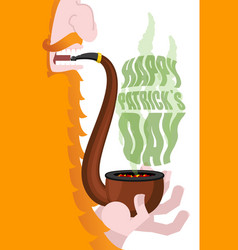 Leprechaun smokes pipe patricks day smoking set vector