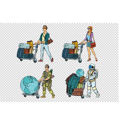 Set travelers man woman soldier and astronaut vector