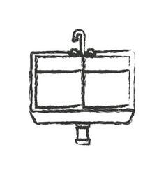 Monochrome blurred silhouette of kitchen sink vector