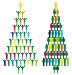 christmas tree with people icons vector image