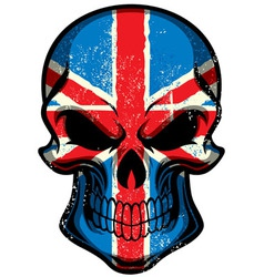 Uk flag painted on skull vector