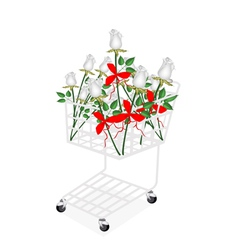 White rose bouquets with ribbon in shopping cart vector