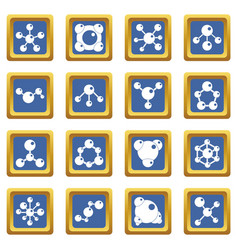 Molecule icons set blue vector