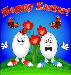 Easter eggs cartoon with flowers vector