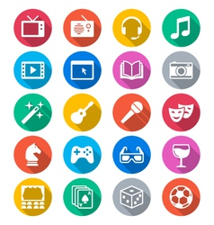 Entertainment flat color icons vector