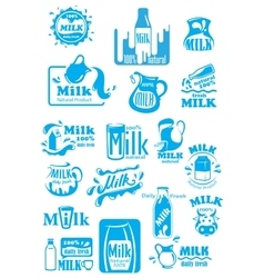 Milk blue labels and icons with splashes vector image