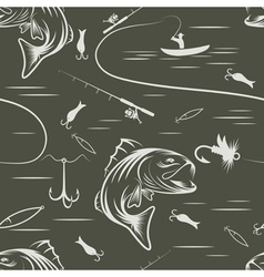 Seamless pattern on the subject of fishing with vector