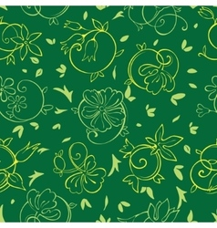 Royal golden green flowers seamless pattern vector