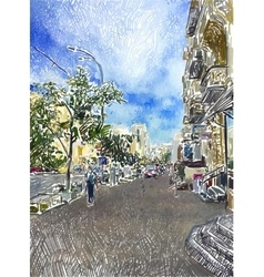Original digital drawing of kyiv city street vector