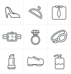 Line icons style fashion icons set design vector