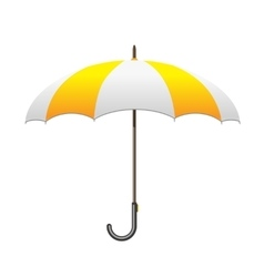 Striped white and yellow umbrella care and vector