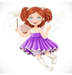 Cute little fairy girl in violet dress vector image