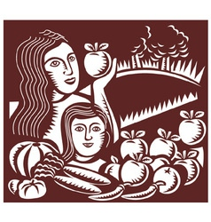 Woman and child apple vector