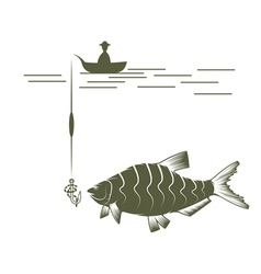 Fisherman on boat and bream design template vector