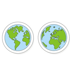 Planet earth buttons logo or icon green and blue vector
