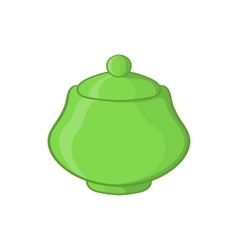 Green ceramic sugar bowl icon cartoon style vector