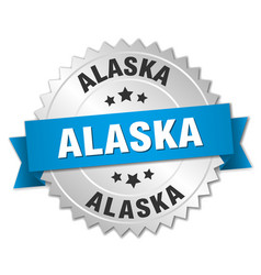 Alaska round silver badge with blue ribbon vector