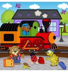 animals at railway station vector image vector image