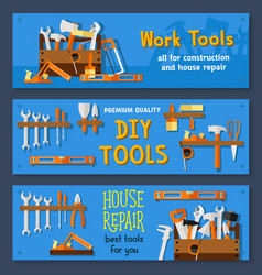 Banners of house repair work tools vector