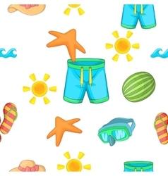 Beach vacation pattern cartoon style vector