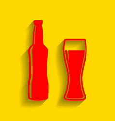 Beer bottle sign red icon with soft vector