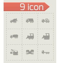 black construction transport icon set vector image vector image