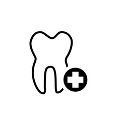black tooth icon vector image vector image