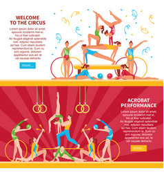 circus acrobats flat banners vector image