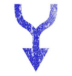 Combine arrow down grunge textured icon vector