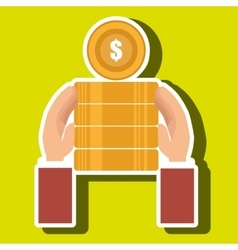 Currency pile money coin vector