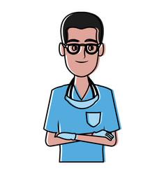 dentist cartoon isolated vector image vector image