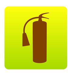 Fire extinguisher sign brown icon at vector