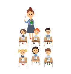 Flat children sitting at desk teacher set vector