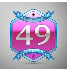 Forty nine years anniversary celebration silver vector