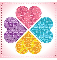 four ornate hearts in shape of flower - vector image vector image