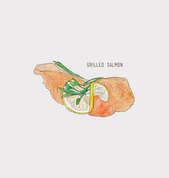 Grill fillet salmon steak hand drawn water color vector