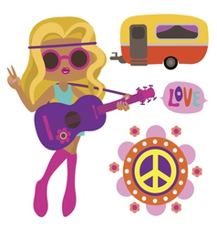 Hippie girl with style elements vector image