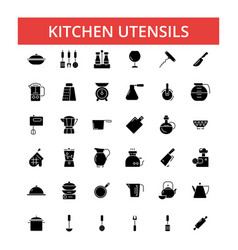 kitchen utensils thin line icons vector image
