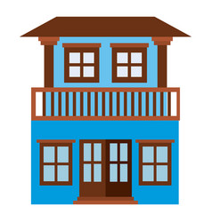 Light color silhouette of house with two floors vector