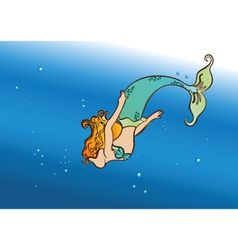 mermaid swim vector image