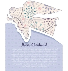 Merry christmas card with angel vintage vector