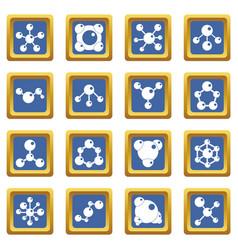 molecule icons set blue vector image